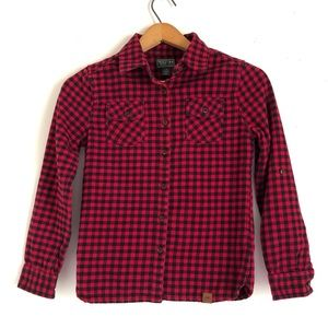 Roots Kids Plaid Shirt Button Long Sleeve Roll Tab